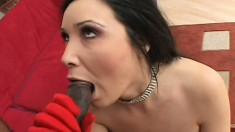 Sensitive cougar in red lingerie strokes and fucks huge black jing jang