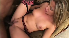 Sweet British girl Poppy Morgan tastes a black cock for the first time