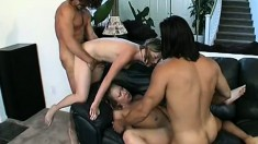 Barely legal babes get shafted deeply during a hardcore foursome