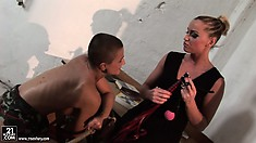 Hot lesbian babe gets her little pet ready for some BDSM fun
