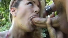 Stacked blonde cougar gets her needy snatch eaten out and drilled hard outside