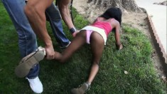 Slender ebony teen with a perfect ass Trina Matthews fucks a white guy