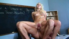 Marvelous blonde Vanessa Cage enjoys a deep pounding in the classroom