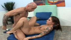 Inked up brunette with a big phat butt gets slammed down to the balls