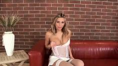 Mesmerizing blonde in white lingerie Heather Wild fucks a big dildo