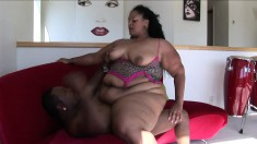Big fat girl Pantera's huge tits dance as she rides on his pussy poker