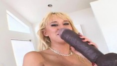 Blonde bimbo Carly Parker in red fishnets loves to fuck huge dildos