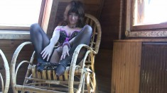 Helen Sits In A Chair Loving Her Nylons And Touching Her Cunny