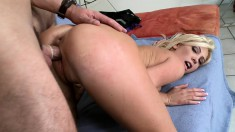 Busty blonde Tasha Reign likes a big cock in her mouth and banging her twat