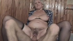Chubby old blonde grandma is getting her ancient cunny drilled out
