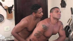 Wild Brazilian guys drill each other's hungry asses in the kitchen