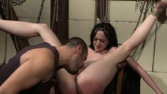 Sassy redhead won't shut up so he ties her up and makes her do what he wants