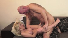 Beautiful young blonde with big tits orgasms on an old man's hard dick