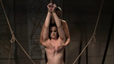 Curvy dark-haired girl gets tied up and disciplined by this sexy lady