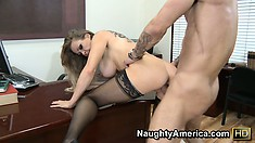 Busty blonde babe Dyanna Lauren slams that ass up and down on his prick