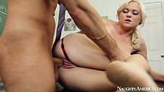 Blonde skinny mini Chloe Foster tempts the teacher into a hot fuck