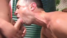 Gorgeous guy gets picked up on the street and nailed hard by two studs