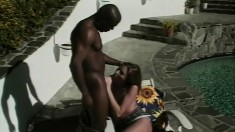 Sexy slender blonde worships and fucks a big black shaft by the pool