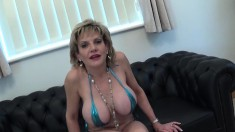 Big breasted housewife drops to her knees and worships a cock in POV