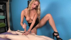 Sexy slender blonde in high heels puts her handjob skills into action