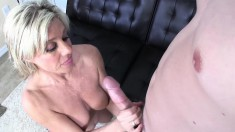 Stacked Blonde Mom Payton Hall Jerks Off A Big Pole And Rubs Her Peach