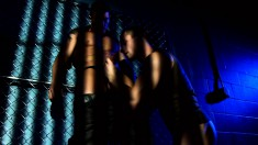 Two horny hunks kiss, suck and fuck during erotic sex in the shadows