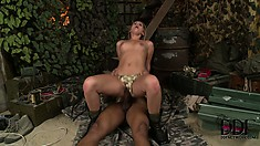 Private Rihanna gives a black soldier her cunt to fuck and trades head