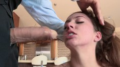 Two attractive babes taste each other's holes and enjoy a long stick