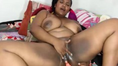 Fat nurse Manuela speculum and dildo masturbation