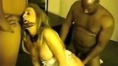 Big Tit Blonde Enjoys Interracial Gangbang