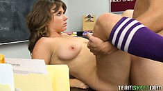 Long haired brunette with big tits has her first time with her professor