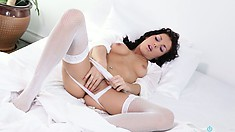 Swoony quean pulls down her sweet white panties and masturbates