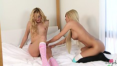 Two hot blondes just wanna have fun and gets undressed to suck boobies
