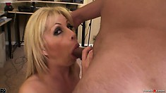 Naughty blonde Brooke Haven gives a sensual blowjob for a facial