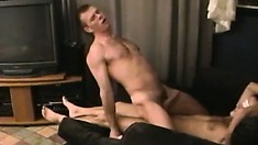 This blindfolded gay doesn't know who is riding his cock but he sure likes it