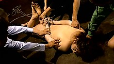Sexy asian bound in ropes remains hung until she breaks in tears
