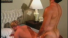 They suck each other's cocks and he bends over to get fucked rough from behind