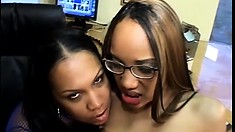 Naughty black teens share a hardcore lesbian threesome for you