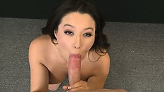 Hot brunette with sexy natural tits wraps her lips around a big cock and sucks with joy