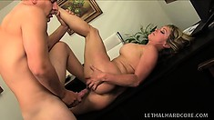 Chubby blonde babe with a great rack gets freaky with her boss