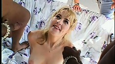 Blonde becomes nothing but a fuck-hole for a group of black cocks