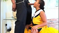 Hot ebony cheerleader with a big booty bounces on a stiff black cock with desire