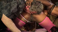 Black hookers in fine lingerie get their freak on with a white guy