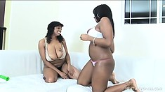 Bubbly black babes with big boobs and butts play sweet lesbian games