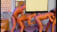 Insatiable toned soldiers get into an ass-ripping gay foursome