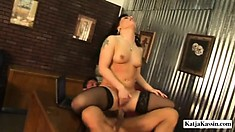 Astonishing redhead milf in black stockings Katja has Tommy roughly fucking her ass