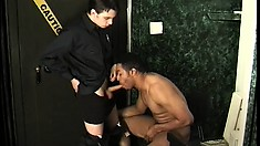 Cute white boy and hot black stud take turns pounding each other's asses