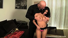 Allustrious Asian actress has terrific sex with dick of extra-large caliber