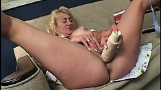 Young redhead spreads her legs and gives her pussy up to eager Maggie