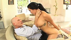 He cuts her out of her dress then fucks her Asian pussy until he cums